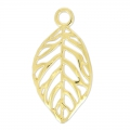 Leaf pendant 30x16 mm gold tone x1