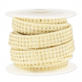 Suede Band with rhinestones 10 mm Beige/gold tone x 3 m