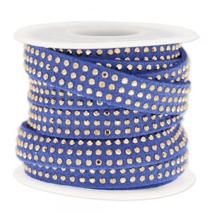 Suede Band with rhinestones 10 mm Blue/gold tone x 3 m