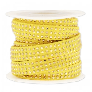 Suede Band with rhinestones 10 mm yellow/gold tone x 3 m