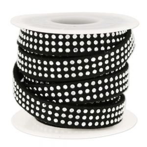 Suede Band with rhinestones 10 mm black/silver tone  x 3 m