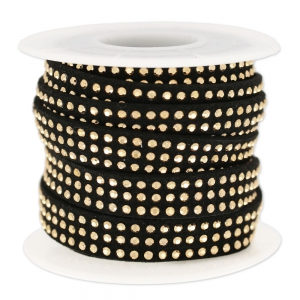 Suede Band with rhinestones 10 mm black/gold tone x 3 m