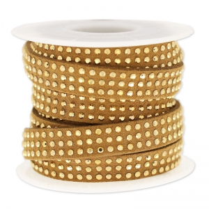 Suede Band with rhinestones 10 mm Camel/gold tone x 3 m