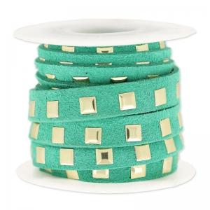 Suede Band with rivets  10 mm Emerald/gold tone x 3 m