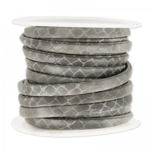 Flat cord 5 mm Imitation Snake Grey x 4.8 m