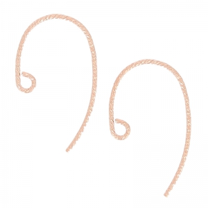 14K Rose Gold filled 13mm round Earhook chased x2