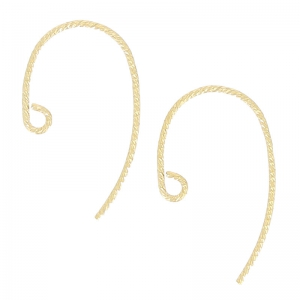 14K Gold filled 13mm round Earhook chased x2