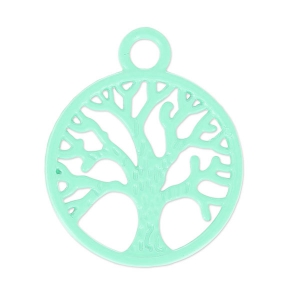 Coloured pendant tree 20x24 mm Green Turquoise x1