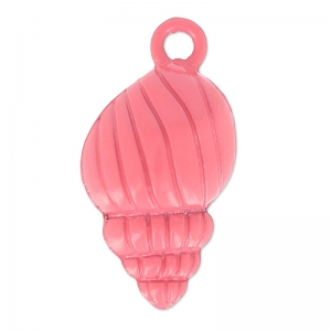 Coloured pendant shell 24x13 mm raspberry x1