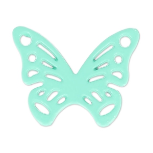 Spacer butterfly coloured 2 loops 0x15 mm Green Turquoise x1