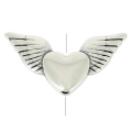 Winged heart bead 20x10 mm antique silver x1