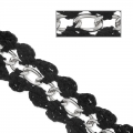 Embroidered links chain 25mm Black Silver tone x 50cm