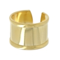 Raw brass ring with curved edge 15 mm gold tone x1