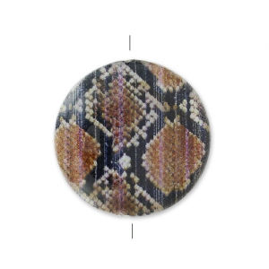 MOP printed Puck-shaped bead 20mm Snake x1