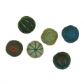 Assortment of wool felt beads 24 mm Green x6