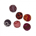Assortment of wool felt beads with flowers 24 mm Red x6
