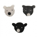 Assortment of bear heads 38mm Grey/Black x3