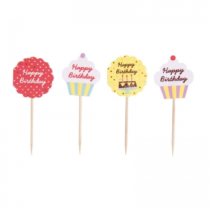 Cake sticks 10cm Happy Birthday x24