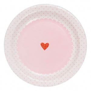 Paper plates Made by Me Pâtisserie 23cm White/Pink x12