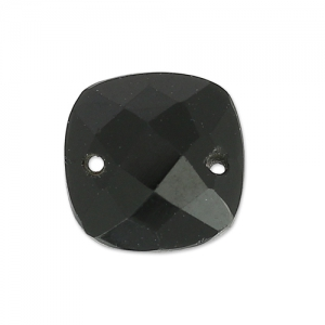 Faceted Spacer 2 square holes 10 mm Black Onyx x1