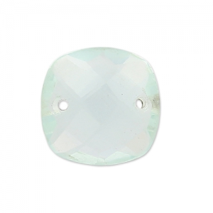 Faceted Spacer 2 square holes 10 mm Hydro Aquamarine x1