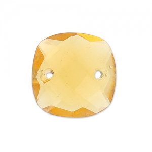 Faceted Spacer 2 square holes 10 mm Hydro Citrine x1