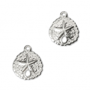 925 Sterling Silver sand dollar charms 11mm x2