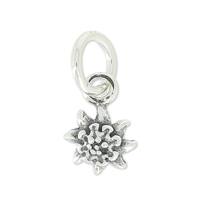 925 Sterling Silver Edelweiss Charm 9.5 mm x1