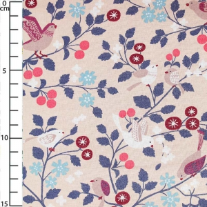 Light cotton fabric Collection Les Oiseaux -  Douceur Mandarine x10cm