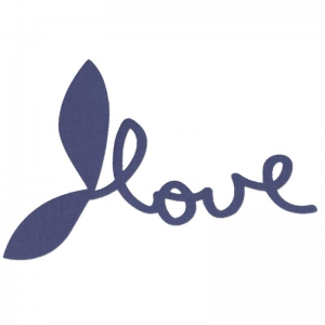 Fusible fabric Love 13cm Navy Blue x1