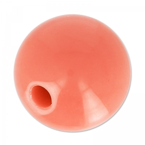 Big hole half-drilled bead 14 mm Coral x1