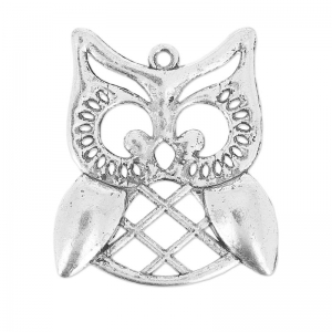Owl pendant 31 mm old silver tone x1