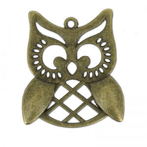 Owl pendant 31 mm bronze x1