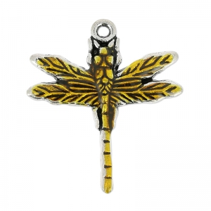 Enamelled dragonfly pendant 32x29 mm Yellow/old silver tone x1