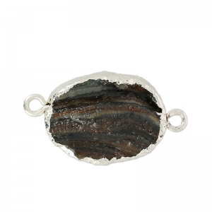 Spacer with Druzy Agate 2 rings 35 mm Naturel/golden tone x1