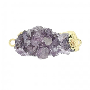 Spacer with Druzy Agate 2 rings 30 mm Violet/golden tone x1