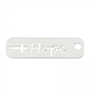 Sterling Silver 925 openwork hope charm 22 mm x1