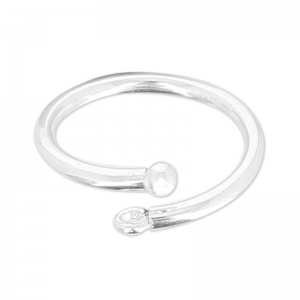 925 Sterling Silver flexible ring with 1 loop size 52 x1