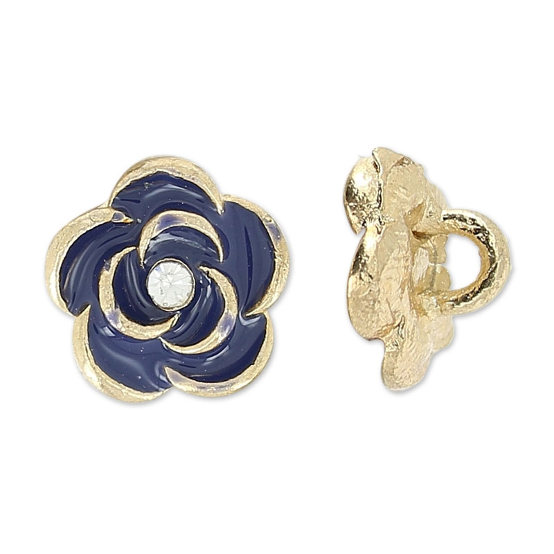 Rose buttons 9 mm Navy blue/golden tone x1