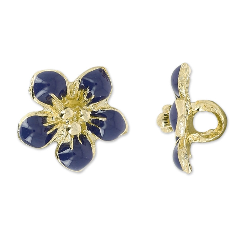 Flower buttons 13 mm Navy blue/golden tone x1