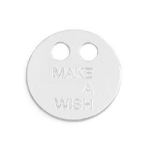925 Sterling Silver make a wish two holes pendant 14 mm x1