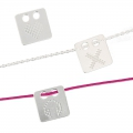 925 Sterling Silver pixel heart two holes pendant 12 mm x1