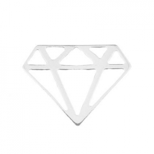 925 Sterling Silver origami diamond 15.5 mm x1