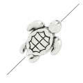 Mini turtle bead 9x7 mm old silver tone x1