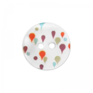 Mother-of-Pearl Button drop shape 15 mm sky blue  x1