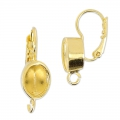 Earrings with crimped cabochon 4120 8x6 mm gold x2