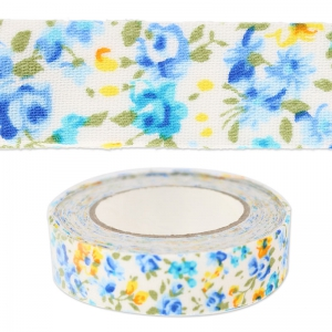 Adhesive fabric 15 mm Flowers blue/yellow x5m