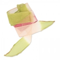 Silk ribbon 25mm Tie and Dye Lillie Olive/Pink/Framboise x85cm
