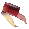 Silk ribbon 25mm Tie and Dye Fire Storm Burgundy/Purple/Camel x85cm