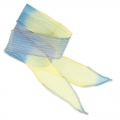 Silk ribbon 25mm Tie and Dye Dadelion Blue/Lavender/Jaune x85cm